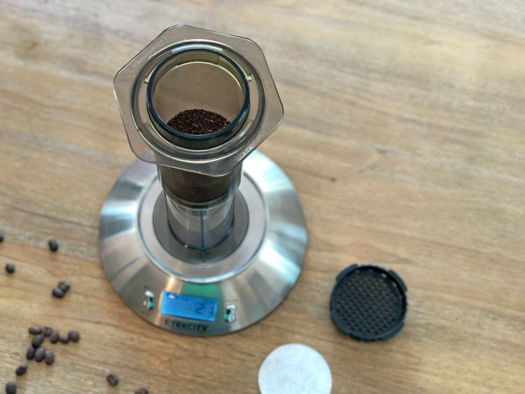 Coffee grounds in the AeroPress ready to brew