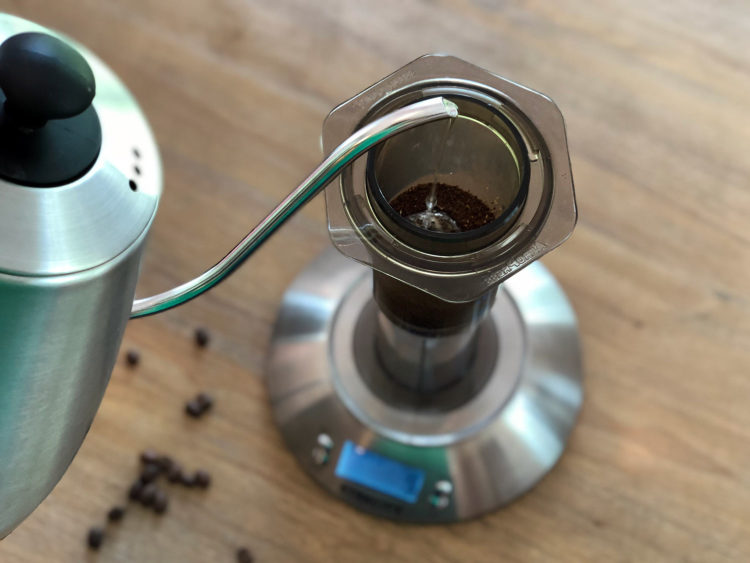 Blooming the coffee in the AeroPress