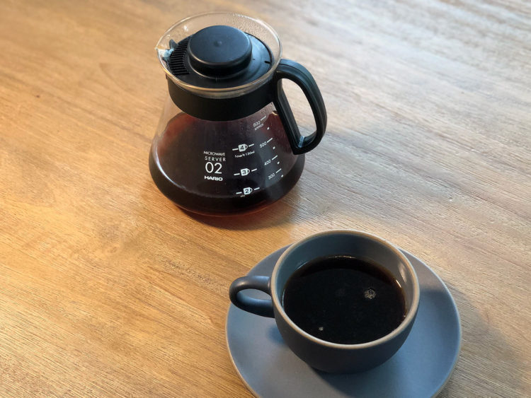 Enjoying the final product of a Hario V60 well-made