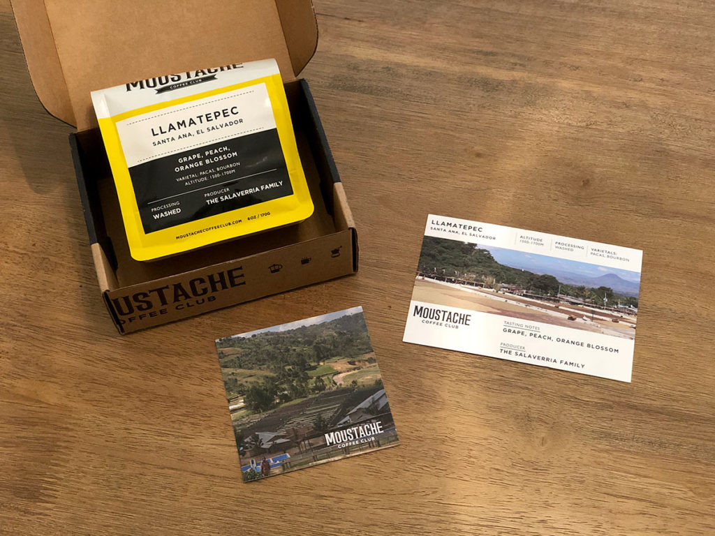 Sample delivery from Moustache Coffee Club