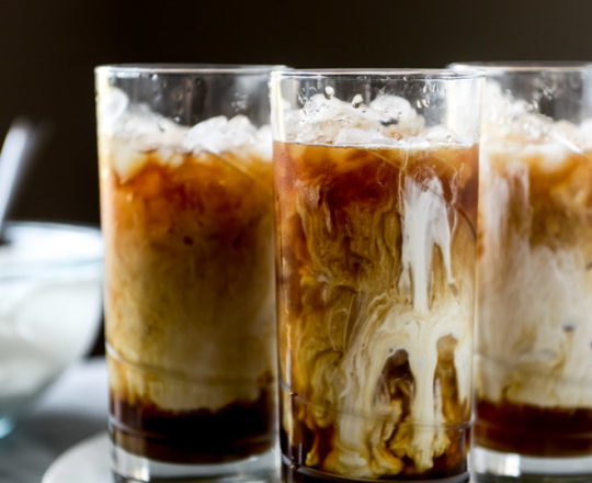Iced Whiskey Coffee with Whisky Syrup and Whipped Cream
