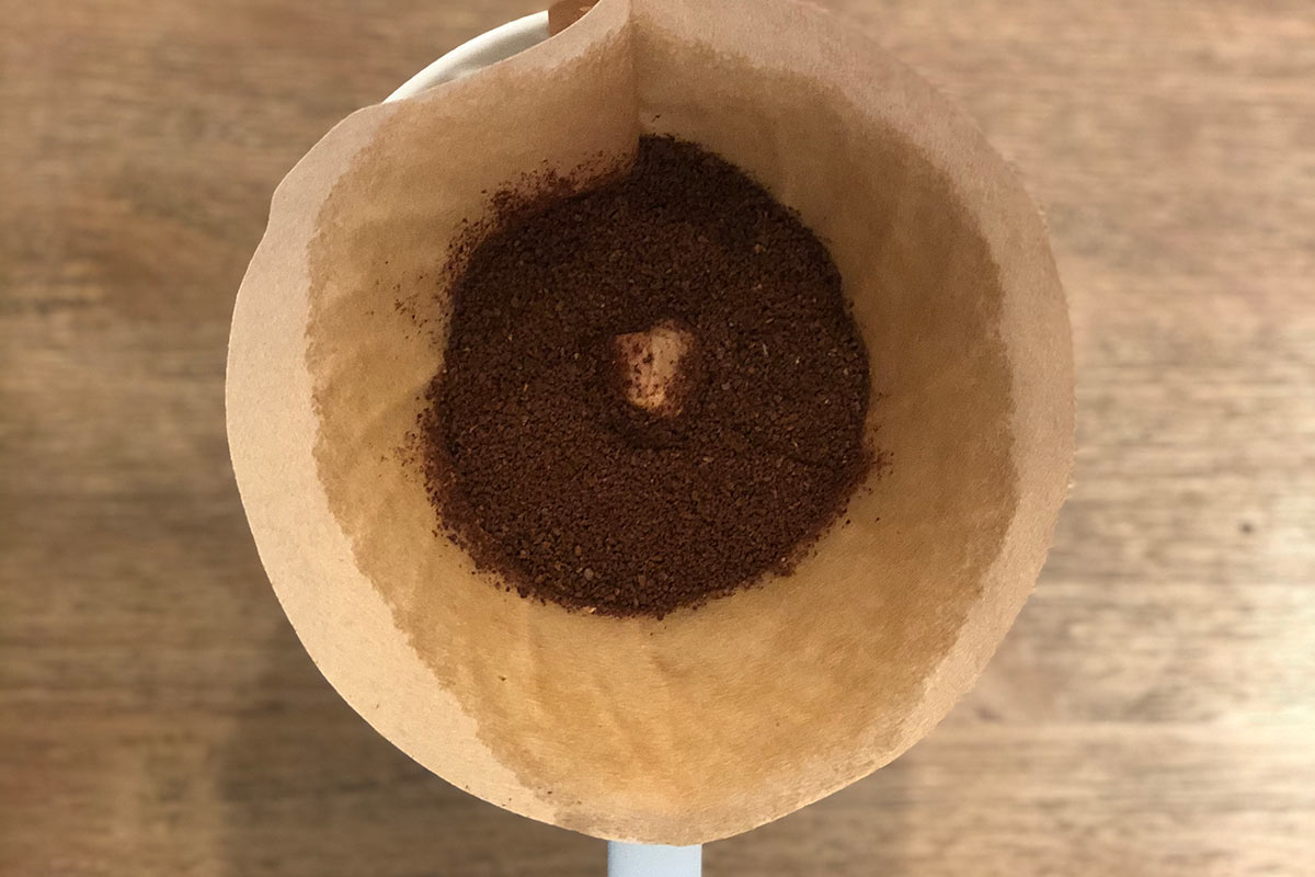 Coffee grounds within the brewer