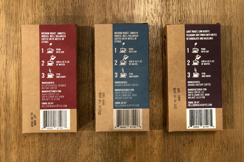 Back of Waka Coffee boxes with brewing directions