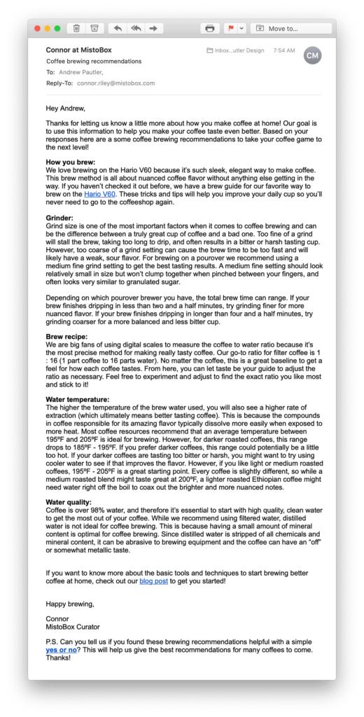Survey response email from Mistobox