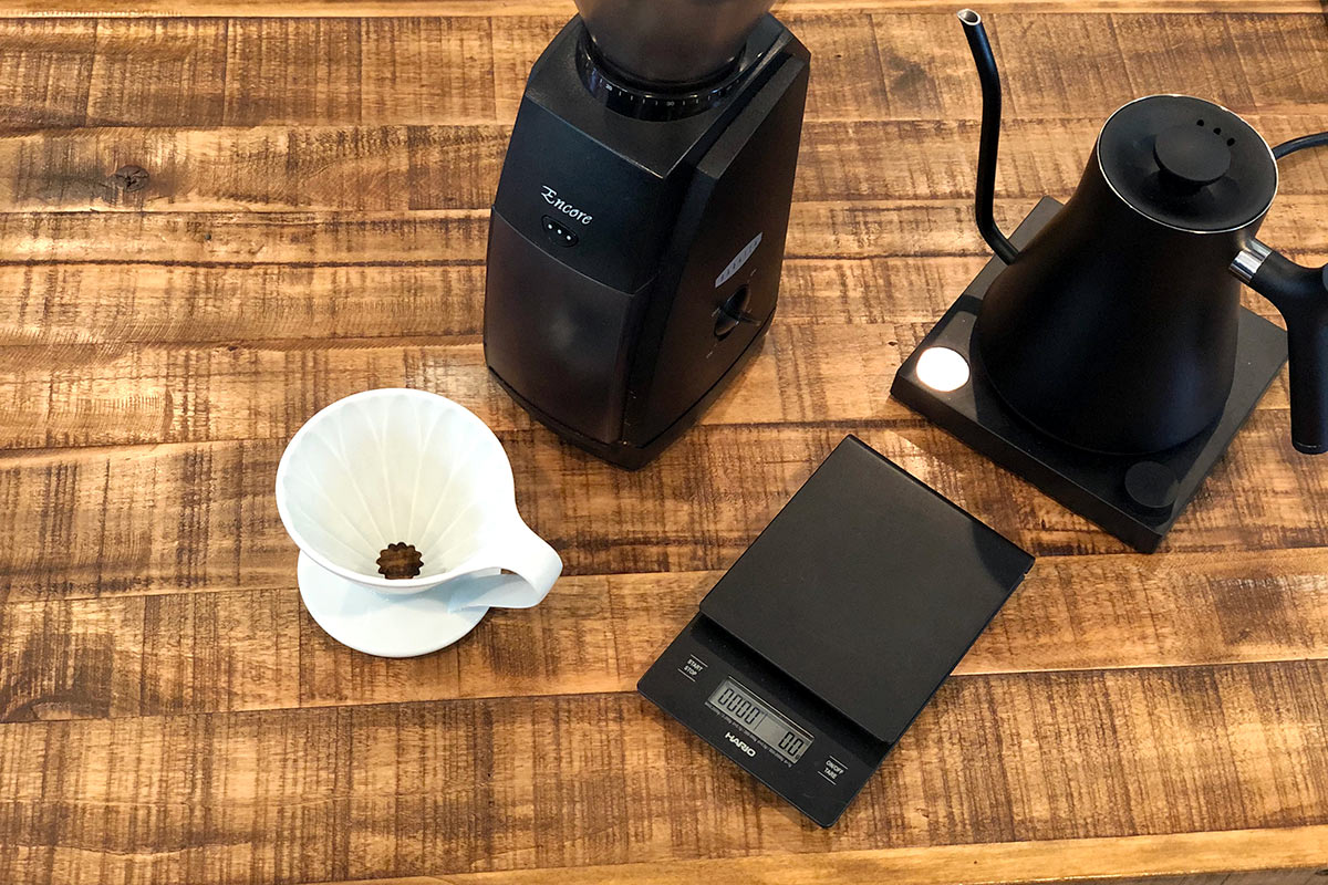 Equipment for making pour over coffee at home