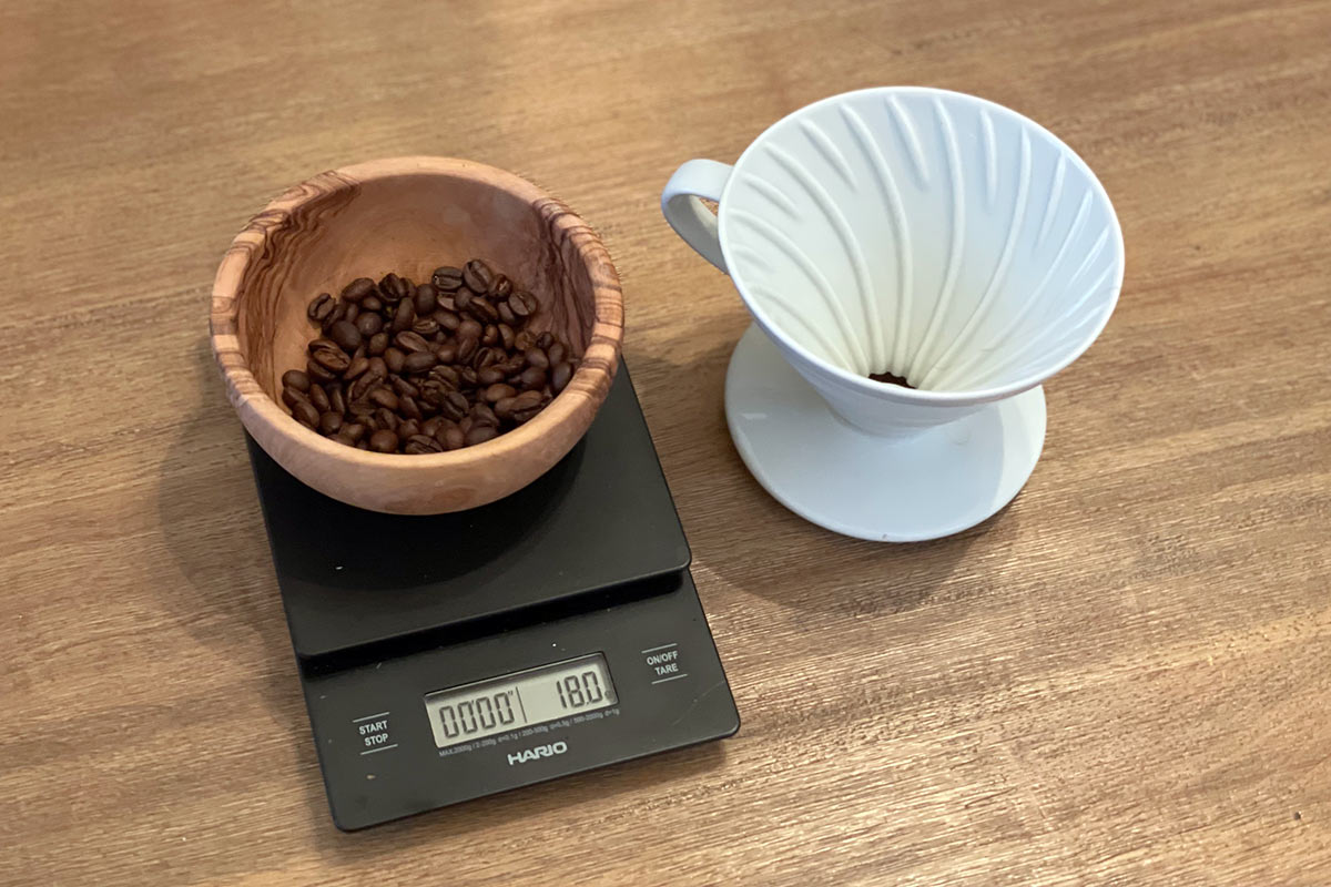 Equipment needed to brew the Hario v60 pulse pour brew recipe