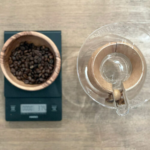 Elements needed for group Chemex pour over brew