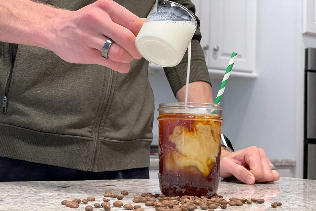 Add cream | How to Make Cold Brew in a Mason Jar
