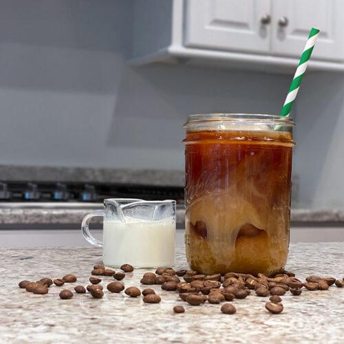 Cold Brew coffee with cream in a mason jar