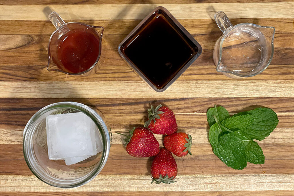 Strawberry Mojito Cold Brew Cocktail ingredients