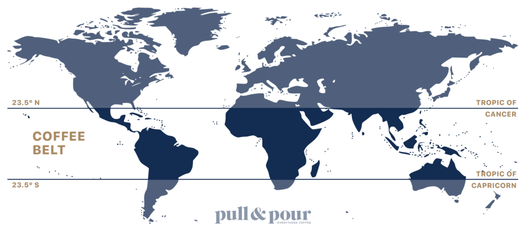 World map showing the coffee belt
