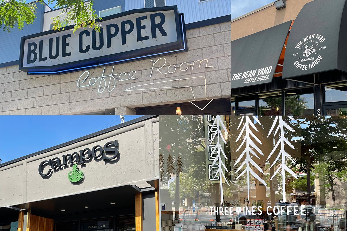 Collage of various Salt Lake City coffee shops