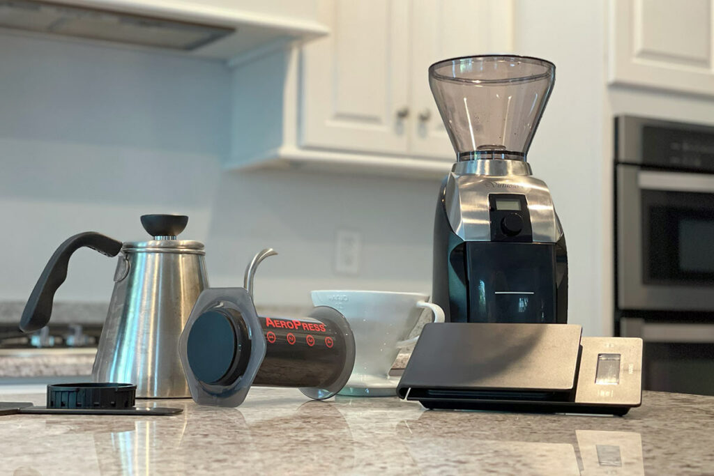 Collection of essential specialty at-home coffee equipment