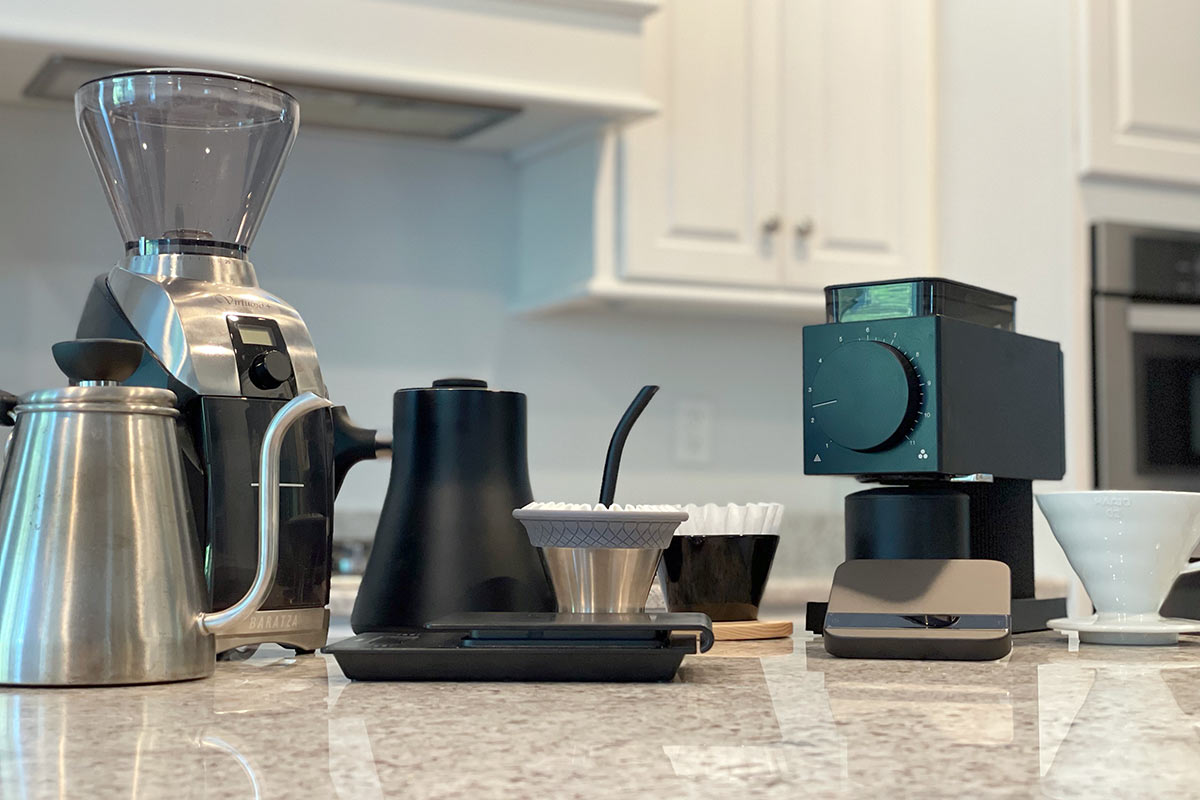Collection of specialty at-home coffee equipment