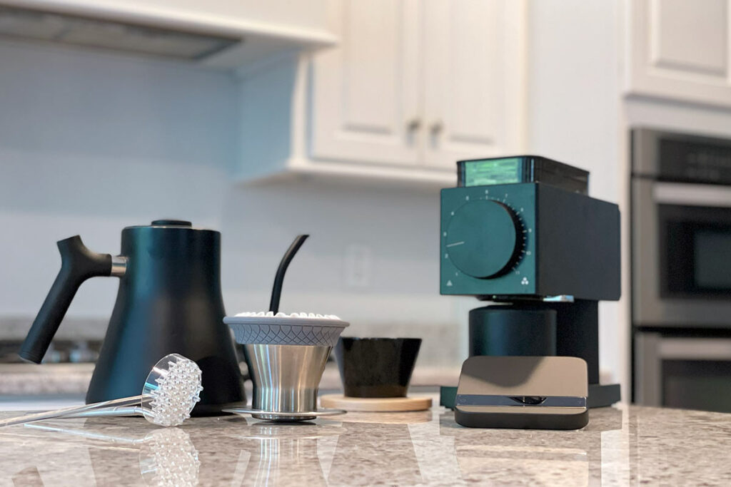 Collection of upscale specialty at-home coffee equipment
